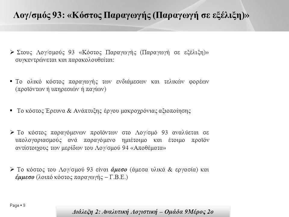 Page  9 Λογ/σμός 93: «Κόστος Παραγωγής (Παραγωγή σε εξέλιξη)»  Στους Λογ/σμούς 93 «Κόστος Παραγωγής (Παραγωγή σε εξέλιξη)» συγκεντρώνεται και παρακο