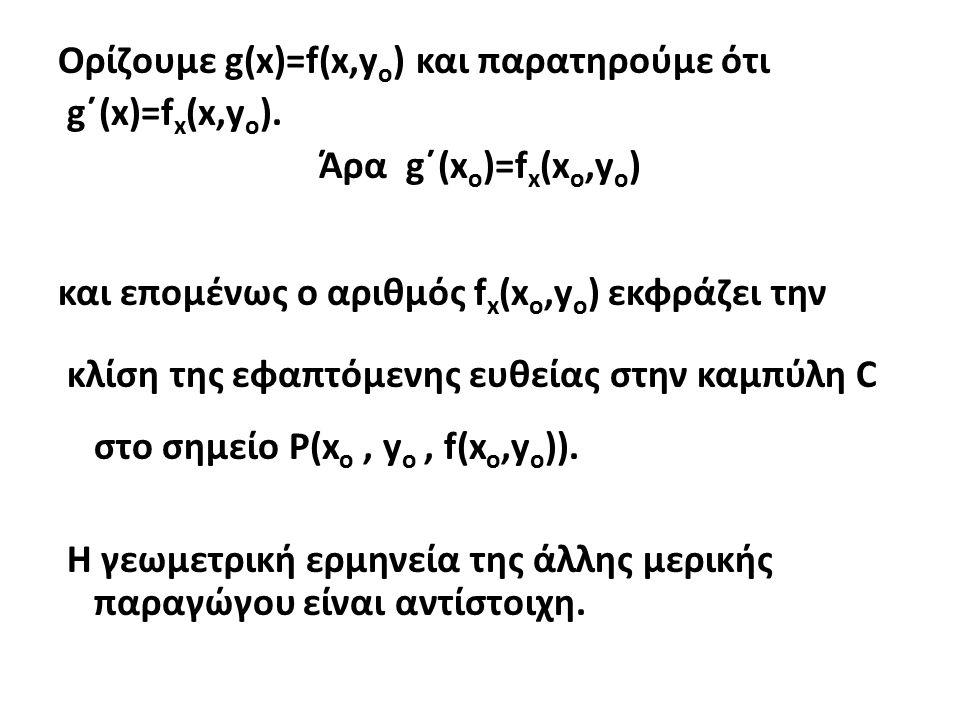 Ορίζουμε g(x)=f(x,y o ) και παρατηρούμε ότι g΄(x)=f x (x,y o ).