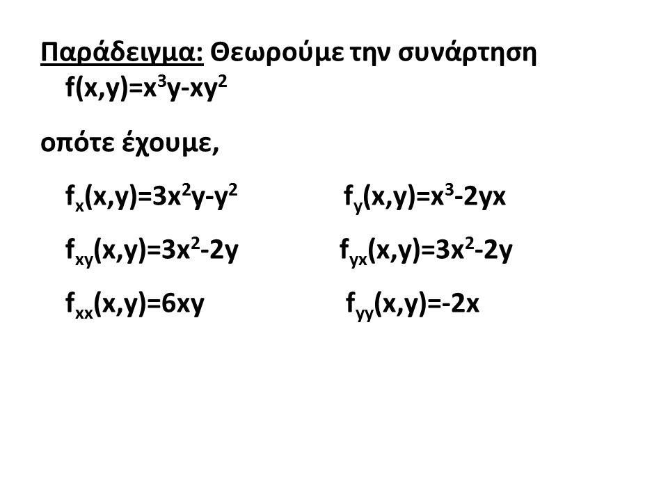 Παράδειγμα: Θεωρούμε την συνάρτηση f(x,y)=x 3 y-xy 2 οπότε έχουμε, f x (x,y)=3x 2 y-y 2 f y (x,y)=x 3 -2yx f xy (x,y)=3x 2 -2y f yx (x,y)=3x 2 -2y f xx (x,y)=6xy f yy (x,y)=-2x
