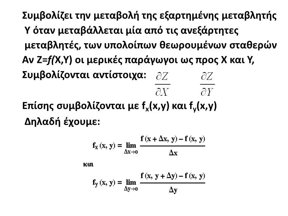 Συμβολίζει την μεταβολή της εξαρτημένης μεταβλητής Υ όταν μεταβάλλεται μία από τις ανεξάρτητες μεταβλητές, των υπολοίπων θεωρουμένων σταθερών Αν Ζ=f(X,Y) οι μερικές παράγωγοι ως προς Χ και Υ, Συμβολίζονται αντίστοιχα: Επίσης συμβολίζονται με f x (x,y) και f y (x,y) Δηλαδή έχουμε: