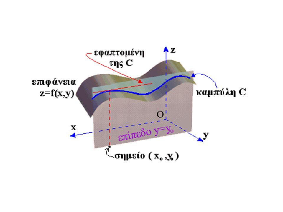 Η τομή της επιφανείας, που είναι η γραφική παράσταση της f(x,y), και του επιπέδου y=y o, θα είναι μια καμπύλη C στον τρισδιάστατο χώρο, η οποία θα περιέχει όλα τα σημεία (x,y,z) με: z=f(x,y) και y=y o, δηλαδή όλα τα σημεία (x, y o, z) για τα οποία ισχύει z=f(x, y ο ).