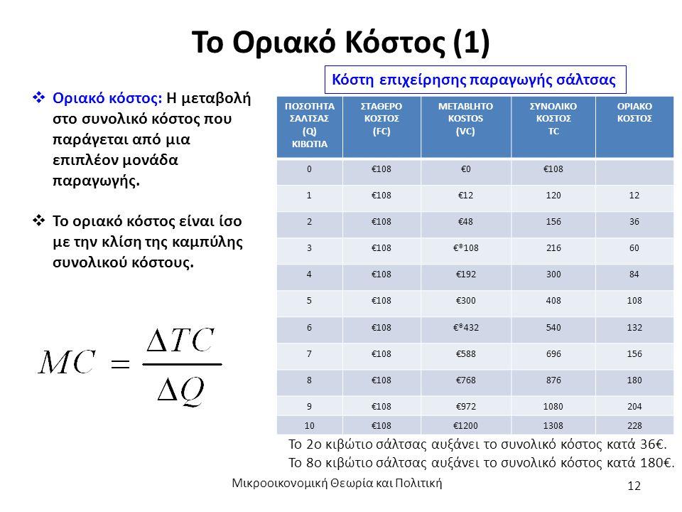 Το Οριακό Κόστος (1) Μικροοικονομική Θεωρία και Πολιτική 12  Οριακό κόστος: Η μεταβολή στο συνολικό κόστος που παράγεται από μια επιπλέον μονάδα παραγωγής.
