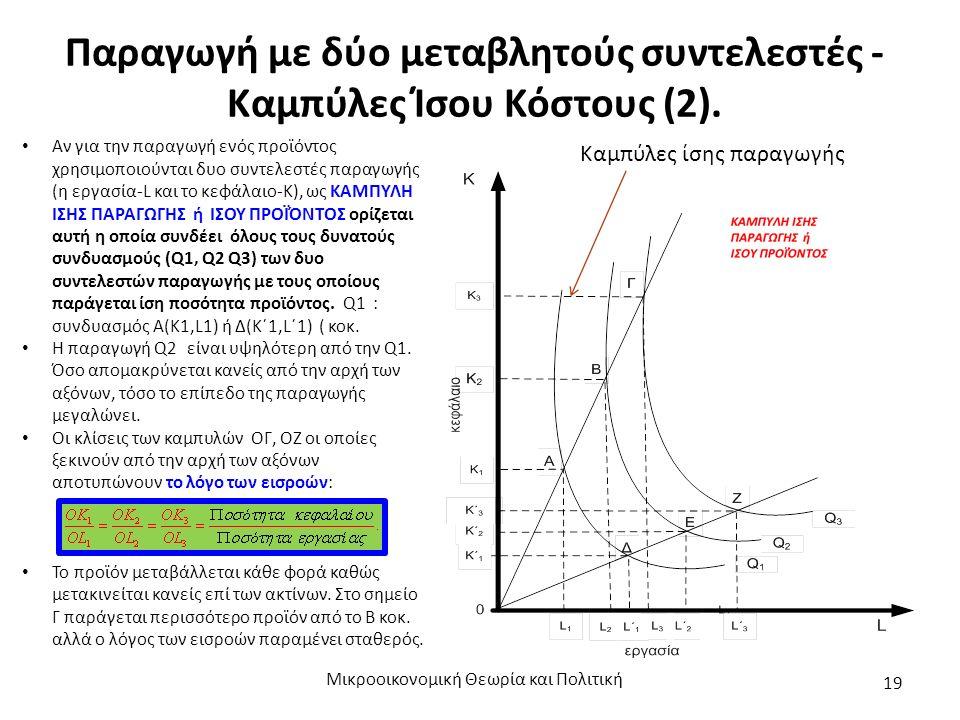Παραγωγή με δύο μεταβλητούς συντελεστές - Καμπύλες Ίσου Κόστους (2). Μικροοικονομική Θεωρία και Πολιτική 19 Καμπύλες ίσης παραγωγής Αν για την παραγωγ