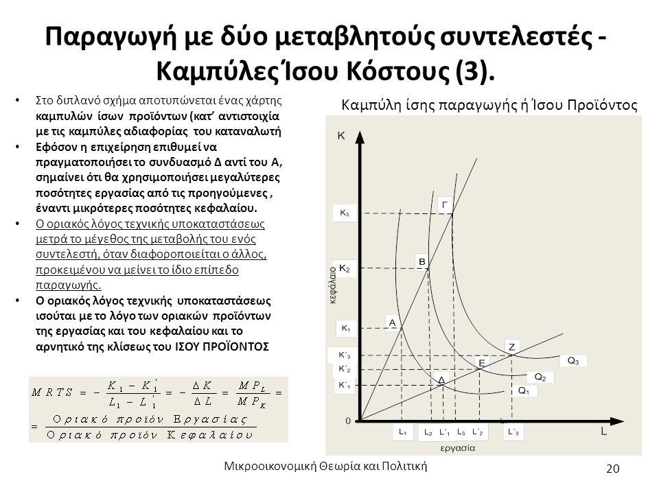 Παραγωγή με δύο μεταβλητούς συντελεστές - Καμπύλες Ίσου Κόστους (3). Μικροοικονομική Θεωρία και Πολιτική 20 Καμπύλη ίσης παραγωγής ή Ίσου Προϊόντος Στ