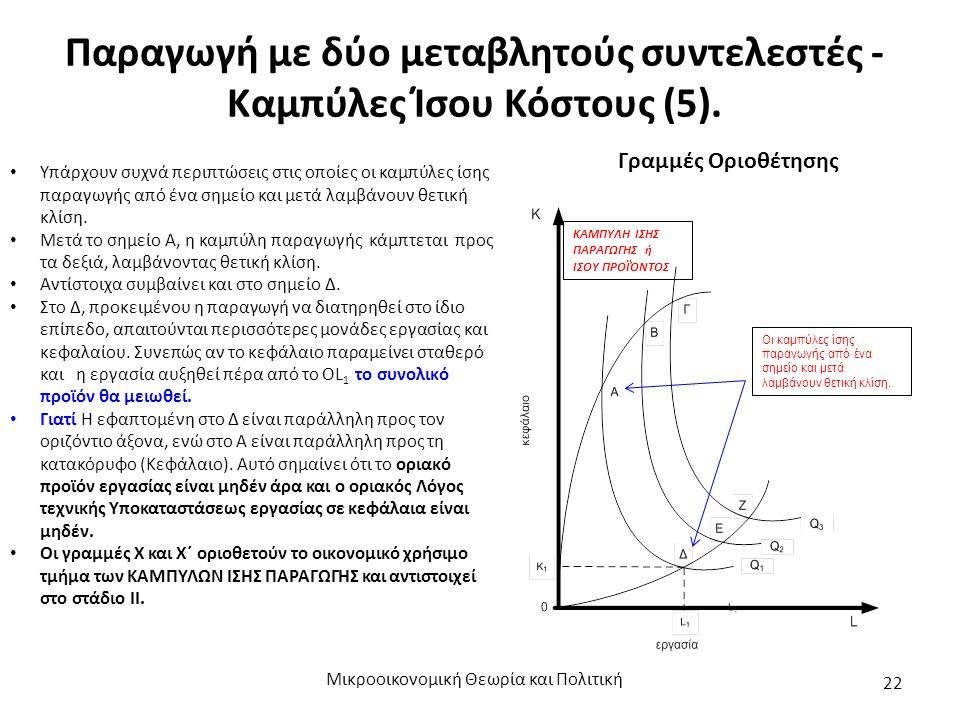 Παραγωγή με δύο μεταβλητούς συντελεστές - Καμπύλες Ίσου Κόστους (5). Μικροοικονομική Θεωρία και Πολιτική 22 Υπάρχουν συχνά περιπτώσεις στις οποίες οι