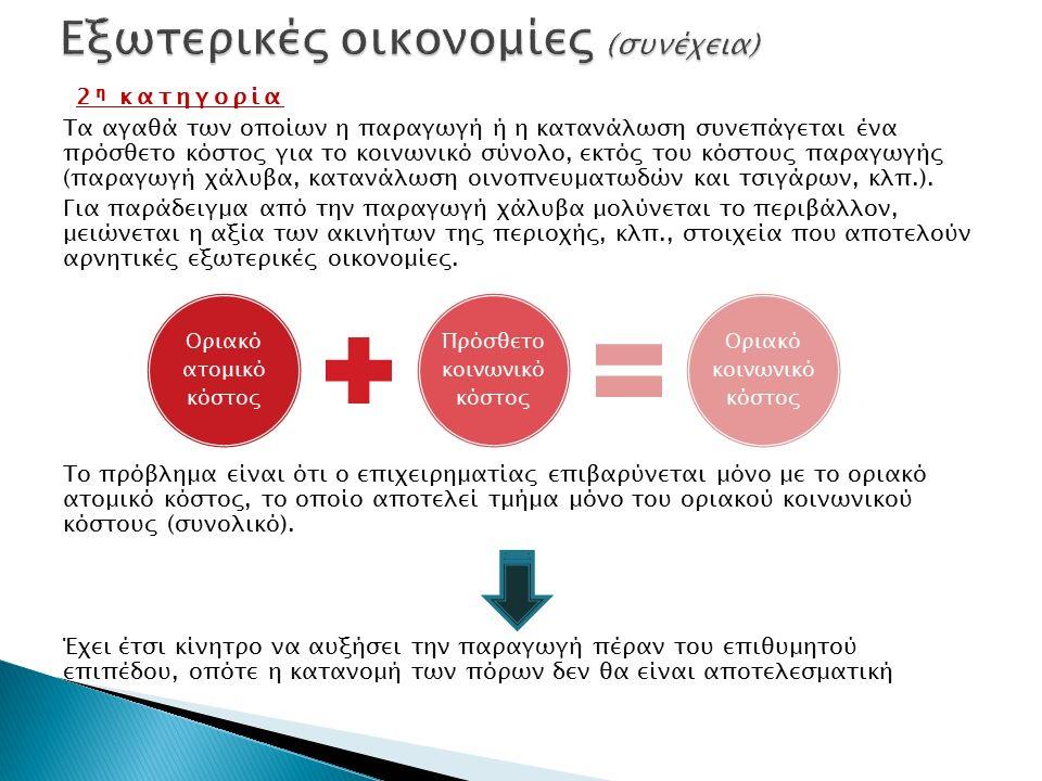 2 η κατηγορία Τα αγαθά των οποίων η παραγωγή ή η κατανάλωση συνεπάγεται ένα πρόσθετο κόστος για το κοινωνικό σύνολο, εκτός του κόστους παραγωγής (παραγωγή χάλυβα, κατανάλωση οινοπνευματωδών και τσιγάρων, κλπ.).