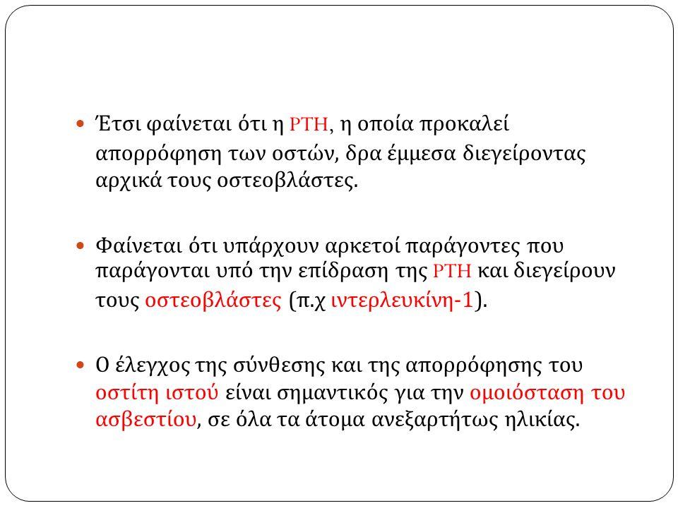 Έτσι φαίνεται ότι η PTH, η οποία προκαλεί απορρόφηση των οστών, δρα έμμεσα διεγείροντας αρχικά τους οστεοβλάστες.