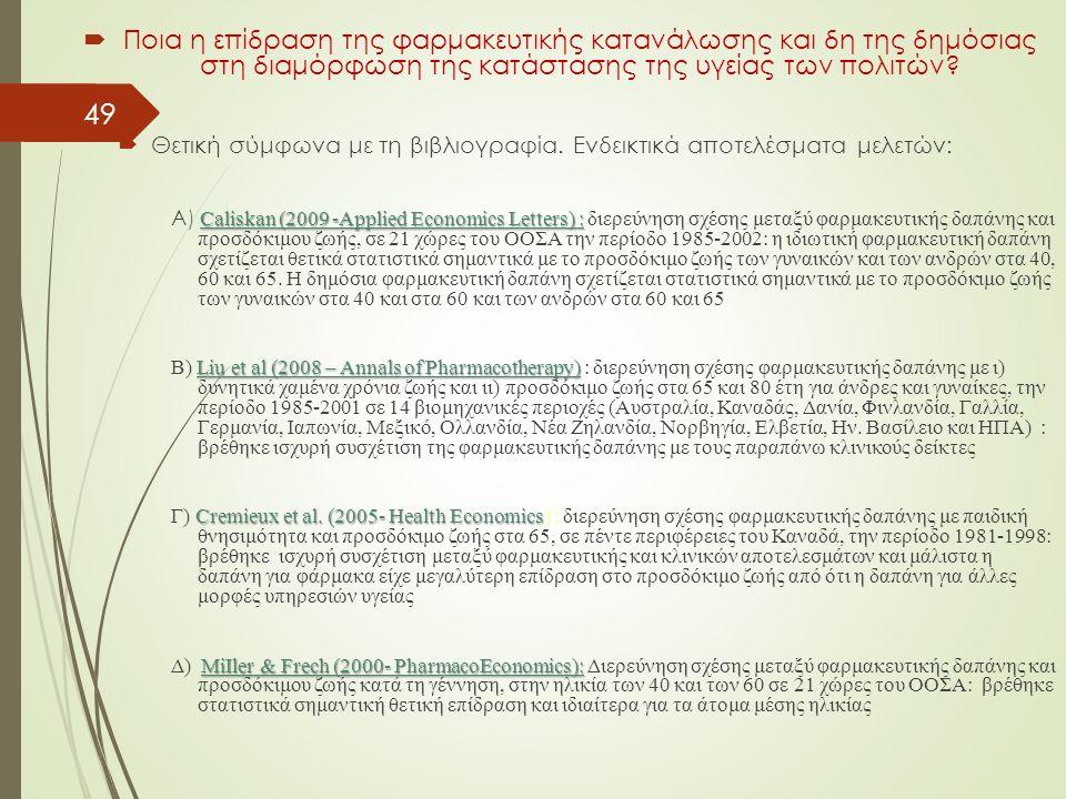 49  Ποια η επίδραση της φαρμακευτικής κατανάλωσης και δη της δημόσιας στη διαμόρφωση της κατάστασης της υγείας των πολιτών.