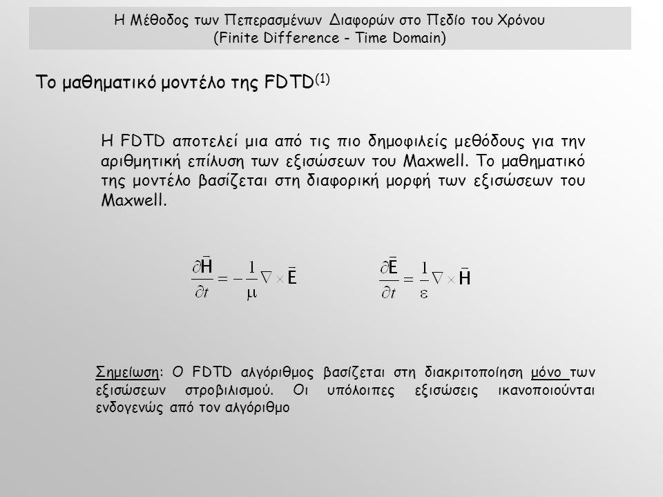 Η Μέθοδος των Πεπερασμένων Διαφορών στο Πεδίο του Χρόνου (Finite Difference - Time Domain) Η FDTD αποτελεί μια από τις πιο δημοφιλείς μεθόδους για την αριθμητική επίλυση των εξισώσεων του Maxwell.