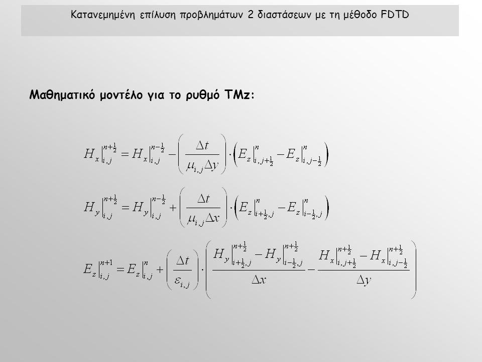 Μαθηματικό μοντέλο για το ρυθμό TMz: Κατανεμημένη επίλυση προβλημάτων 2 διαστάσεων με τη μέθοδο FDTD