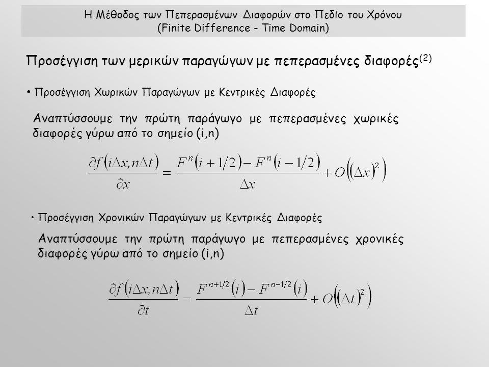 Η Μέθοδος των Πεπερασμένων Διαφορών στο Πεδίο του Χρόνου (Finite Difference - Time Domain) Προσέγγιση των μερικών παραγώγων με πεπερασμένες διαφορές (2) Προσέγγιση Χωρικών Παραγώγων με Κεντρικές Διαφορές Προσέγγιση Χρονικών Παραγώγων με Κεντρικές Διαφορές Αναπτύσσουμε την πρώτη παράγωγο με πεπερασμένες χωρικές διαφορές γύρω από το σημείο (i,n) Αναπτύσσουμε την πρώτη παράγωγο με πεπερασμένες χρονικές διαφορές γύρω από το σημείο (i,n)