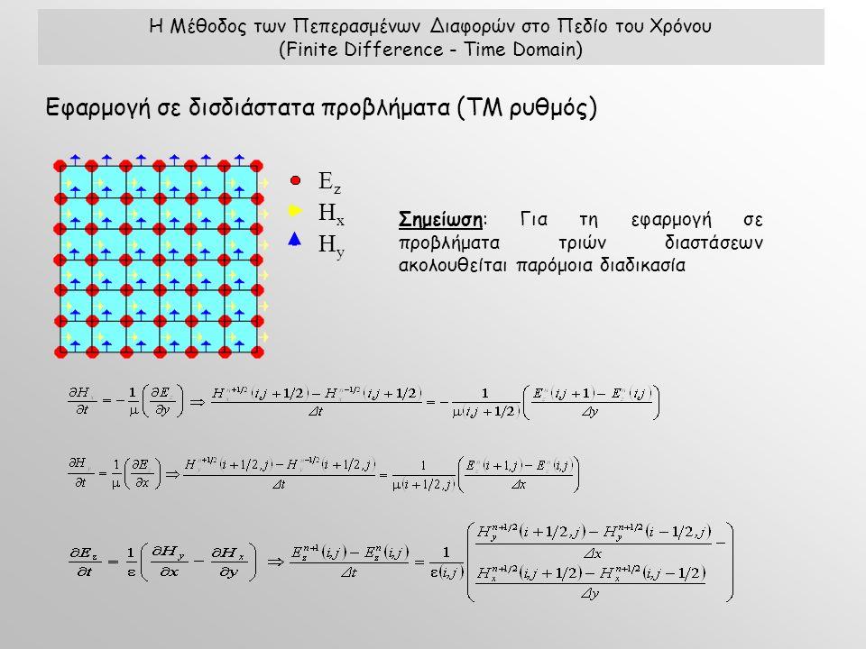Η Μέθοδος των Πεπερασμένων Διαφορών στο Πεδίο του Χρόνου (Finite Difference - Time Domain) Εφαρμογή σε δισδιάστατα προβλήματα (ΤΜ ρυθμός) ΕzΕz HxHx HyHy Σημείωση: Για τη εφαρμογή σε προβλήματα τριών διαστάσεων ακολουθείται παρόμοια διαδικασία