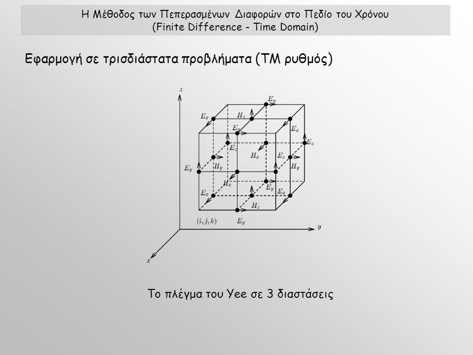 Η Μέθοδος των Πεπερασμένων Διαφορών στο Πεδίο του Χρόνου (Finite Difference - Time Domain) Εφαρμογή σε τρισδιάστατα προβλήματα (ΤΜ ρυθμός) Το πλέγμα του Yee σε 3 διαστάσεις
