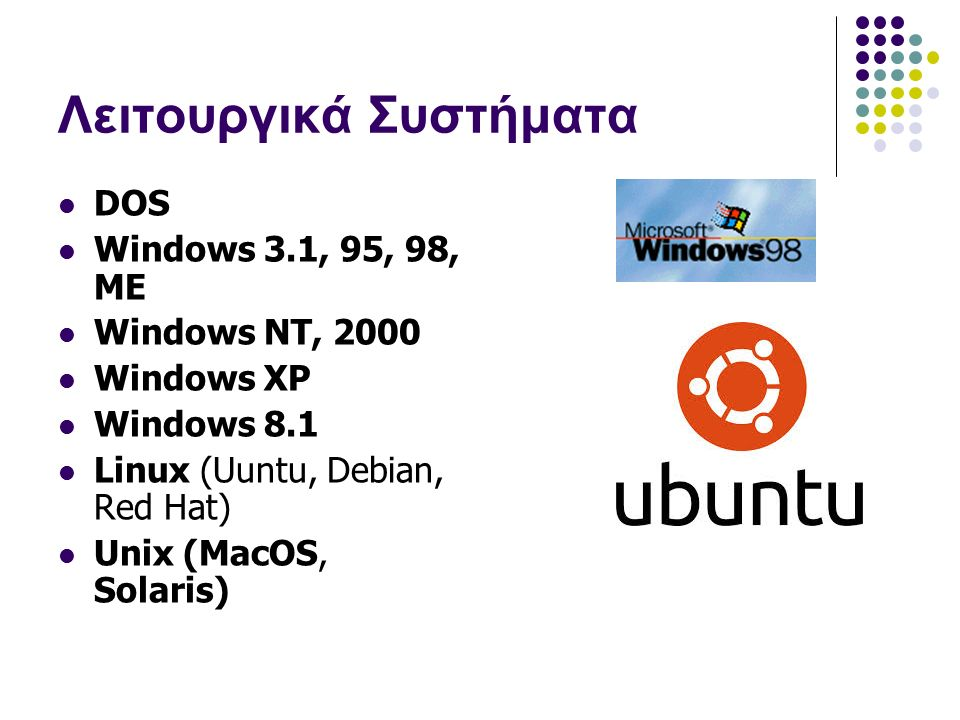 Λειτουργικά Συστήματα DOS Windows 3.1, 95, 98, ME Windows NT, 2000 Windows XP Windows 8.1 Linux (Uuntu, Debian, Red Hat) Unix (MacOS, Solaris)