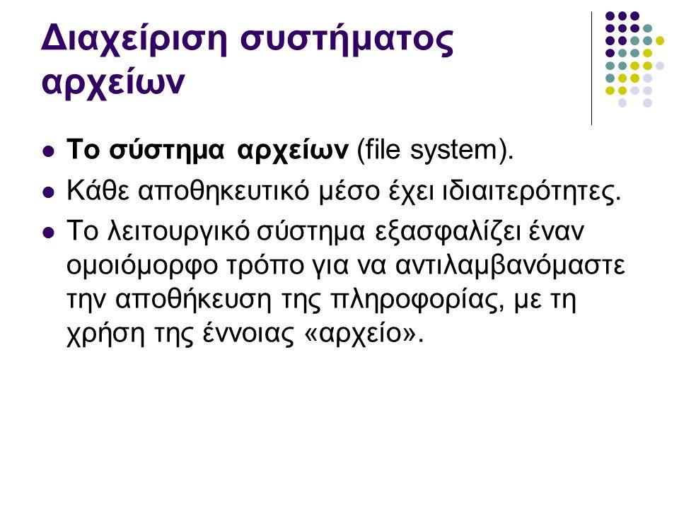 Διαχείριση συστήματος αρχείων To σύστημα αρχείων (file system).