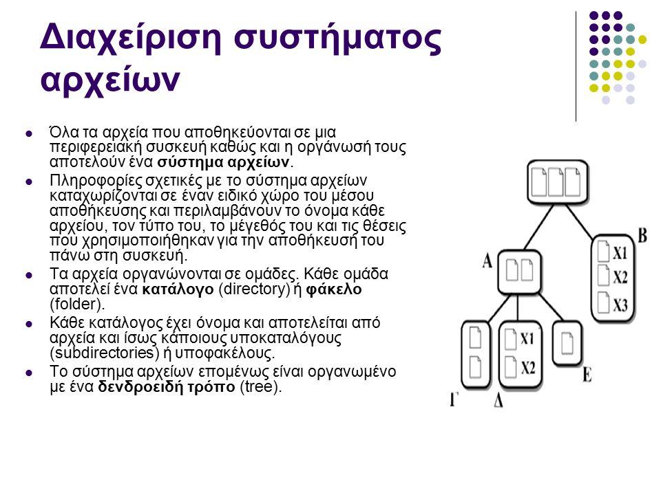 Διαχείριση συστήματος αρχείων Όλα τα αρχεία που αποθηκεύονται σε μια περιφερειακή συσκευή καθώς και η οργάνωσή τους αποτελούν ένα σύστημα αρχείων.