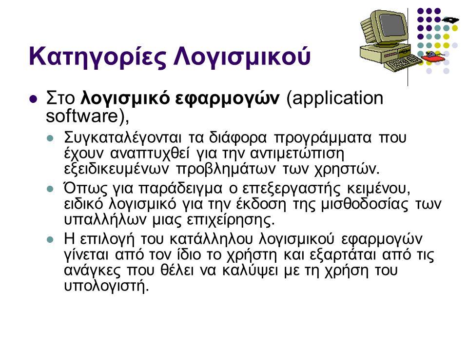 Πακέτα εφαρμογών Επεξεργασία κειμένου (Word Processing) Επιτραπέζια τυπογραφία (DTP) Λογιστικά φύλλα (Spreadsheet) Βάσεις Δεδομένων (Data Base) Σχεδίαση & φωτορεαλιστική απεικόνιση (CAD, 3D) Επεξεργασία φωτογραφίας Επεξεργασία ήχου Επεξεργασία κινούμενης εικόνας Επεξεργασία video, κινούμενης εικόνας Πακέτα επιστημονικών περιοχών Λογιστικές, Εμπορικές και Βιομηχανικές εφαρμογές Παιχνίδια Εκπαιδευτικό Λογισμικό Λογισμικό επικοινωνίας Λογισμικό βιβλιοθήκης