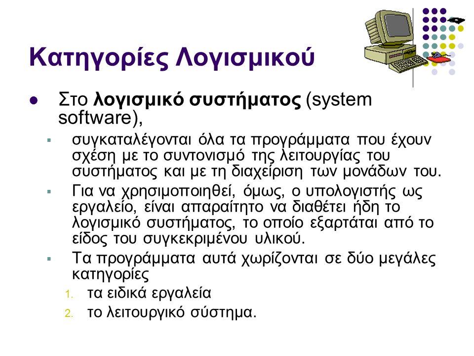 Κατηγορίες Λογισμικού Στο λογισμικό συστήματος (system software),  συγκαταλέγονται όλα τα προγράμματα που έχουν σχέση με το συντονισμό της λειτουργίας του συστήματος και με τη διαχείριση των μονάδων του.