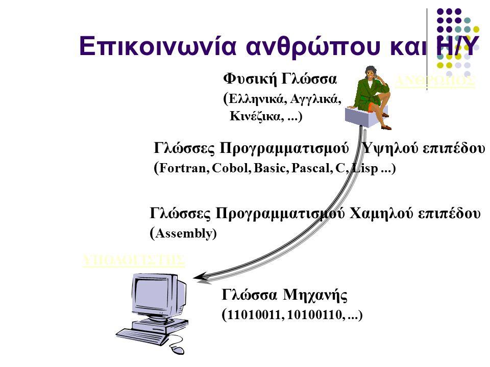 Επικοινωνία ανθρώπου και Η/Υ ΑΝΘΡΩΠΟΣ ΥΠΟΛΟΓΙΣΤΗΣ Φυσική Γλώσσα ( Ελληνικά, Αγγλικά, Κινέζικα,...) Γλώσσα Μηχανής ( 11010011, 10100110,...) Γλώσσες Προγραμματισμού Υψηλού επιπέδου ( Fortran, Cobol, Basic, Pascal, C, Lisp...) Γλώσσες Προγραμματισμού Xαμηλού επιπέδου ( Assembly)