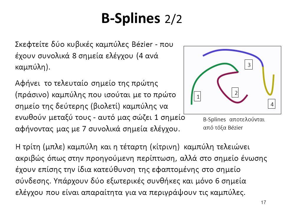 B-Splines 2/2 Σκεφτείτε δύο κυβικές καμπύλες Bézier - που έχουν συνολικά 8 σημεία ελέγχου (4 ανά καμπύλη).