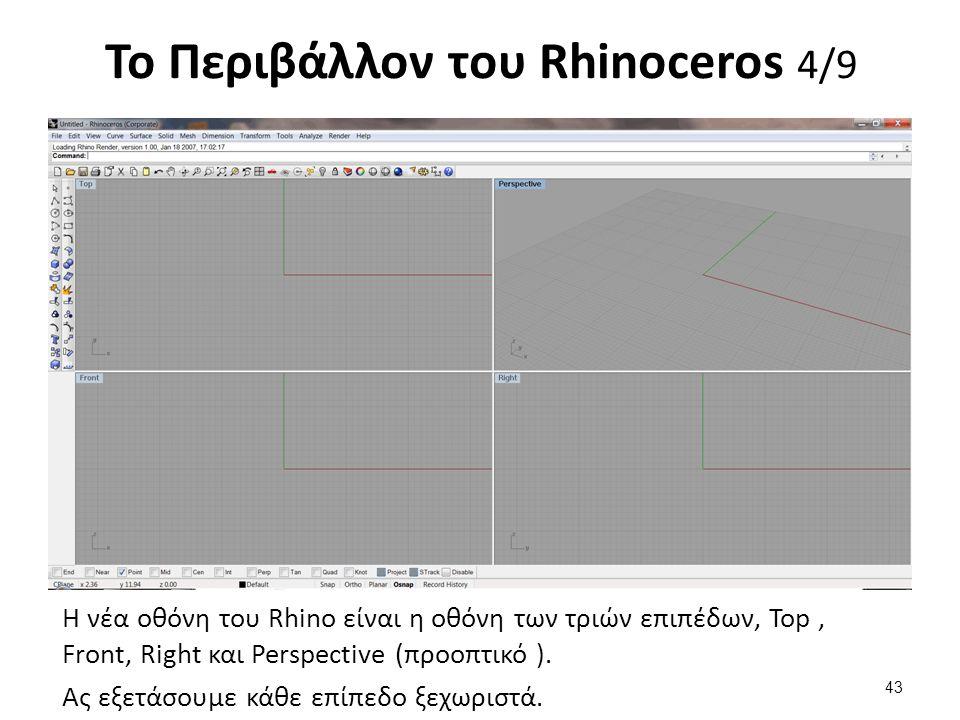Η νέα οθόνη του Rhino είναι η οθόνη των τριών επιπέδων, Top, Front, Right και Perspective (προοπτικό ).