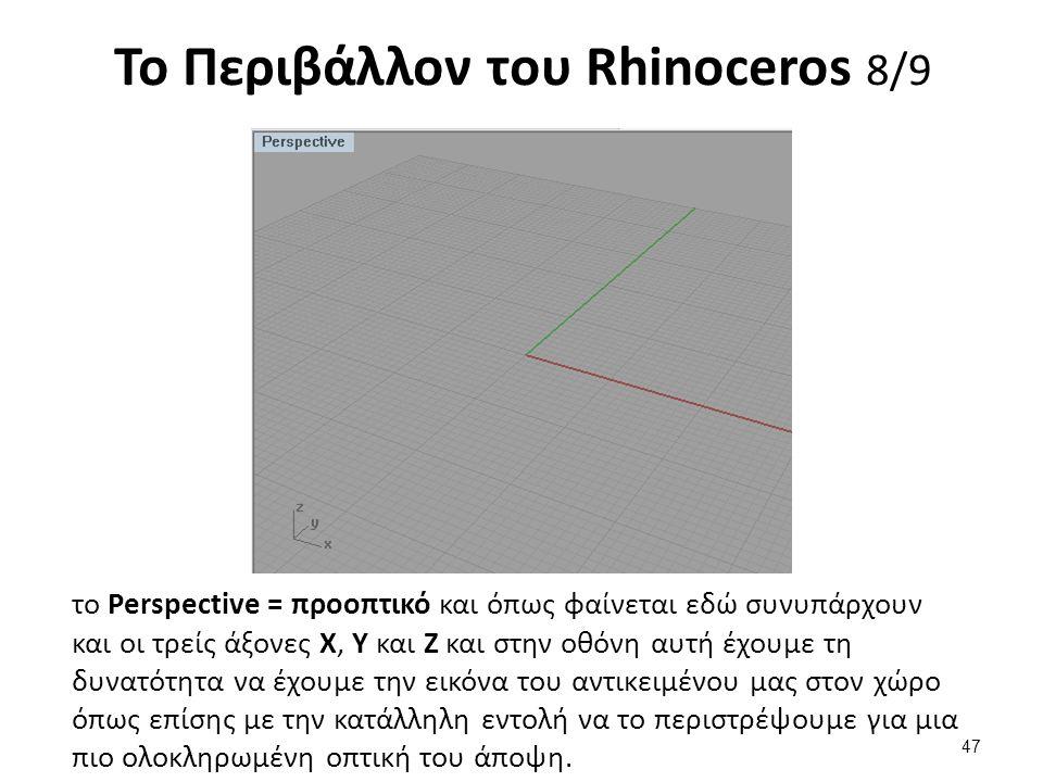 Το Περιβάλλον του Rhinoceros 8/9 το Perspective = προοπτικό και όπως φαίνεται εδώ συνυπάρχουν και οι τρείς άξονες Χ, Υ και Ζ και στην οθόνη αυτή έχουμε τη δυνατότητα να έχουμε την εικόνα του αντικειμένου μας στον χώρο όπως επίσης με την κατάλληλη εντολή να το περιστρέψουμε για μια πιο ολοκληρωμένη οπτική του άποψη.