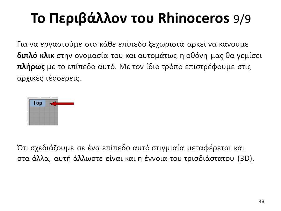 Το Περιβάλλον του Rhinoceros 9/9 Για να εργαστούμε στο κάθε επίπεδο ξεχωριστά αρκεί να κάνουμε διπλό κλικ στην ονομασία του και αυτομάτως η οθόνη μας θα γεμίσει πλήρως με το επίπεδο αυτό.