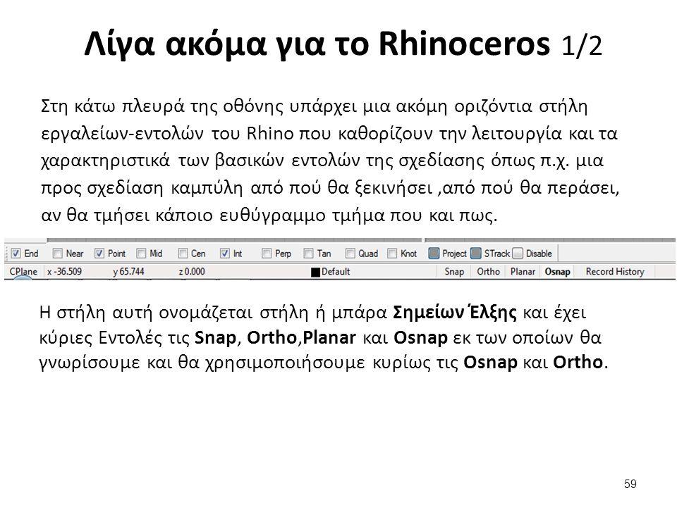 Στη κάτω πλευρά της οθόνης υπάρχει μια ακόμη οριζόντια στήλη εργαλείων-εντολών του Rhino που καθορίζουν την λειτουργία και τα χαρακτηριστικά των βασικών εντολών της σχεδίασης όπως π.χ.