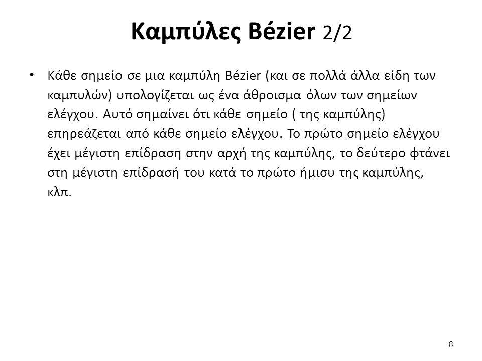 Καμπύλες Bézier 2/2 Κάθε σημείο σε μια καμπύλη Bézier (και σε πολλά άλλα είδη των καμπυλών) υπολογίζεται ως ένα άθροισμα όλων των σημείων ελέγχου.