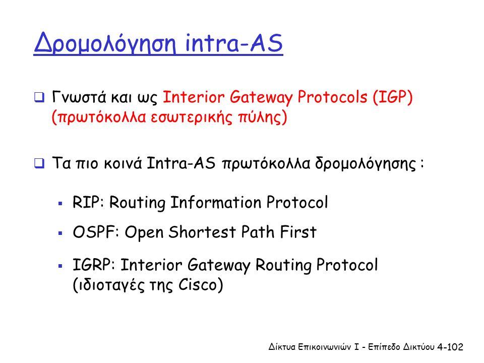 4-102 Δρομολόγηση intra-AS  Γνωστά και ως Interior Gateway Protocols (IGP) (πρωτόκολλα εσωτερικής πύλης)  Τα πιο κοινά Intra-AS πρωτόκολλα δρομολόγησης :  RIP: Routing Information Protocol  OSPF: Open Shortest Path First  IGRP: Interior Gateway Routing Protocol (ιδιοταγές της Cisco) Δίκτυα Επικοινωνιών Ι - Επίπεδο Δικτύου