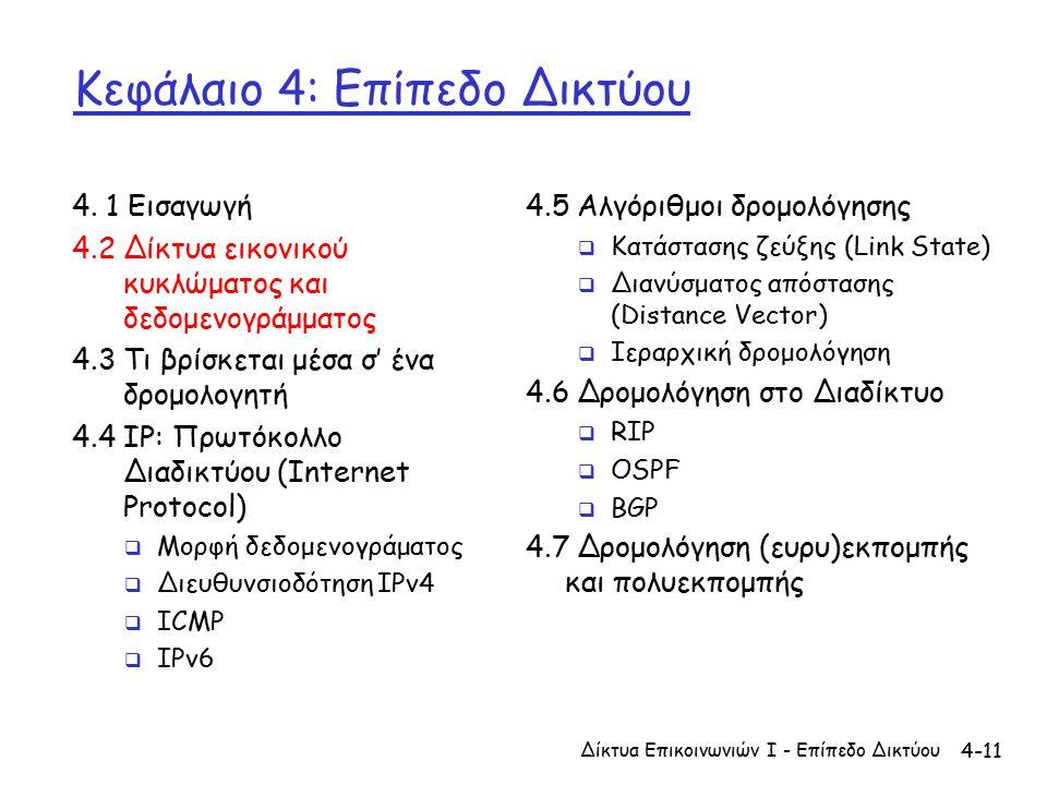 4-11 Κεφάλαιο 4: Επίπεδο Δικτύου 4.