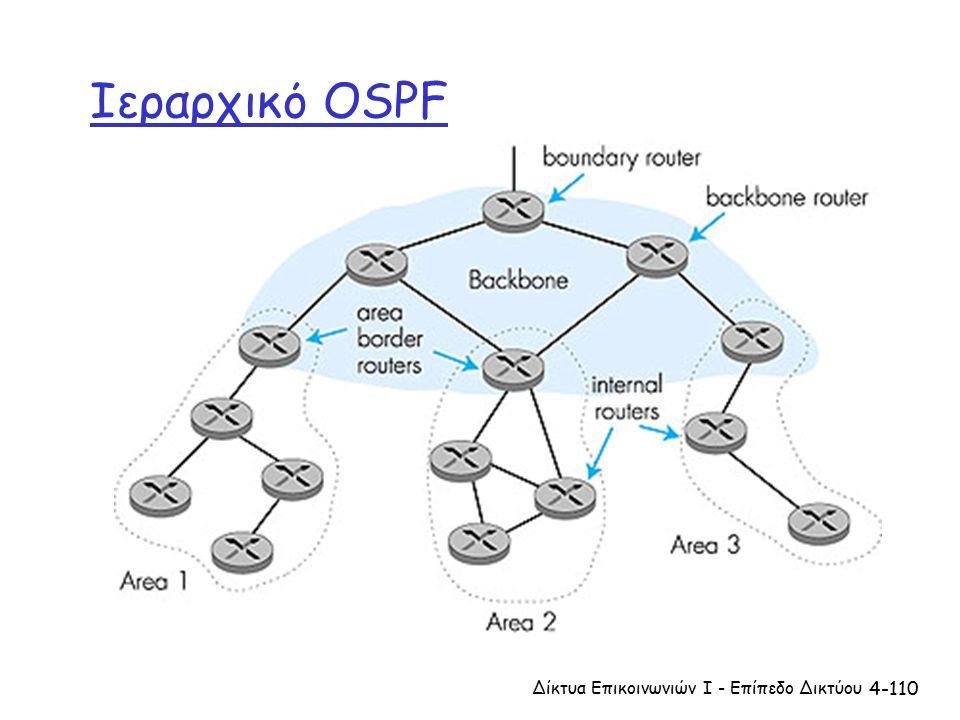 4-110 Ιεραρχικό OSPF Δίκτυα Επικοινωνιών Ι - Επίπεδο Δικτύου