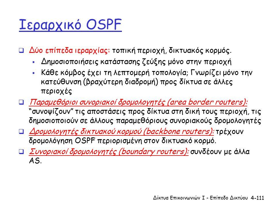4-111 Ιεραρχικό OSPF  Δύο επίπεδα ιεραρχίας: τοπική περιοχή, δικτυακός κορμός.
