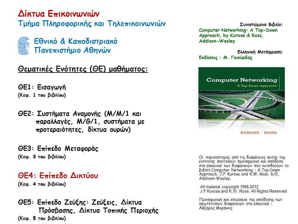 4-63 ICMP: Internet Control Message Protocol (Πρωτόκολλο Ελέγχου Μηνυμάτων Διαδικτύου)  Χρησιμοποιείται από υπολογιστές & δρομολογητές για ανταλλαγή πληροφορίας επιπέδου δικτύου  Αναφορά σφαλμάτων: μη προσπελάσιμος υπολογιστής, δίκτυο, θύρα, πρωτόκολλο  Αίτηση/απάντηση ηχούς (echo request/reply) (χρήση στο ping)  Επίπεδο δικτύου πάνω από το IP:  Τα μηνύματα του ICMP μεταφέρονται σε IP datagrams  Μήνυμα ICMP: τύπος, κωδικός και τα 8 πρώτα bytes του IP datagram που προκαλεί σφάλμα Type Code description 0 0 echo reply (ping) 3 0 dest.