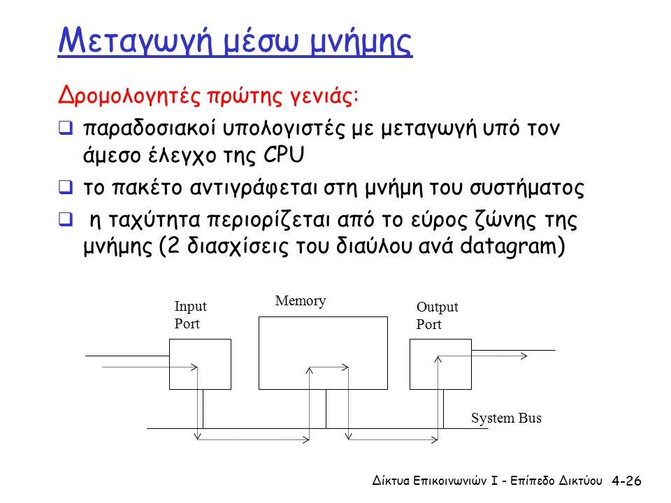 4-26 Μεταγωγή μέσω μνήμης Δρομολογητές πρώτης γενιάς:  παραδοσιακοί υπολογιστές με μεταγωγή υπό τον άμεσο έλεγχο της CPU  το πακέτο αντιγράφεται στη μνήμη του συστήματος  η ταχύτητα περιορίζεται από το εύρος ζώνης της μνήμης (2 διασχίσεις του διαύλου ανά datagram) Δίκτυα Επικοινωνιών Ι - Επίπεδο Δικτύου Input Port Output Port Memory System Bus