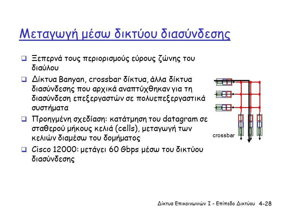 4-28 Μεταγωγή μέσω δικτύου διασύνδεσης  Ξεπερνά τους περιορισμούς εύρους ζώνης του διαύλου  Δίκτυα Banyan, crossbar δίκτυα, άλλα δίκτυα διασύνδεσης που αρχικά αναπτύχθηκαν για τη διασύνδεση επεξεργαστών σε πολυεπεξεργαστικά συστήματα  Προηγμένη σχεδίαση: κατάτμηση του datagram σε σταθερού μήκους κελιά (cells), μεταγωγή των κελιών διαμέσω του δομήματος  Cisco 12000: μετάγει 60 Gbps μέσω του δικτύου διασύνδεσης Δίκτυα Επικοινωνιών Ι - Επίπεδο Δικτύου crossbar
