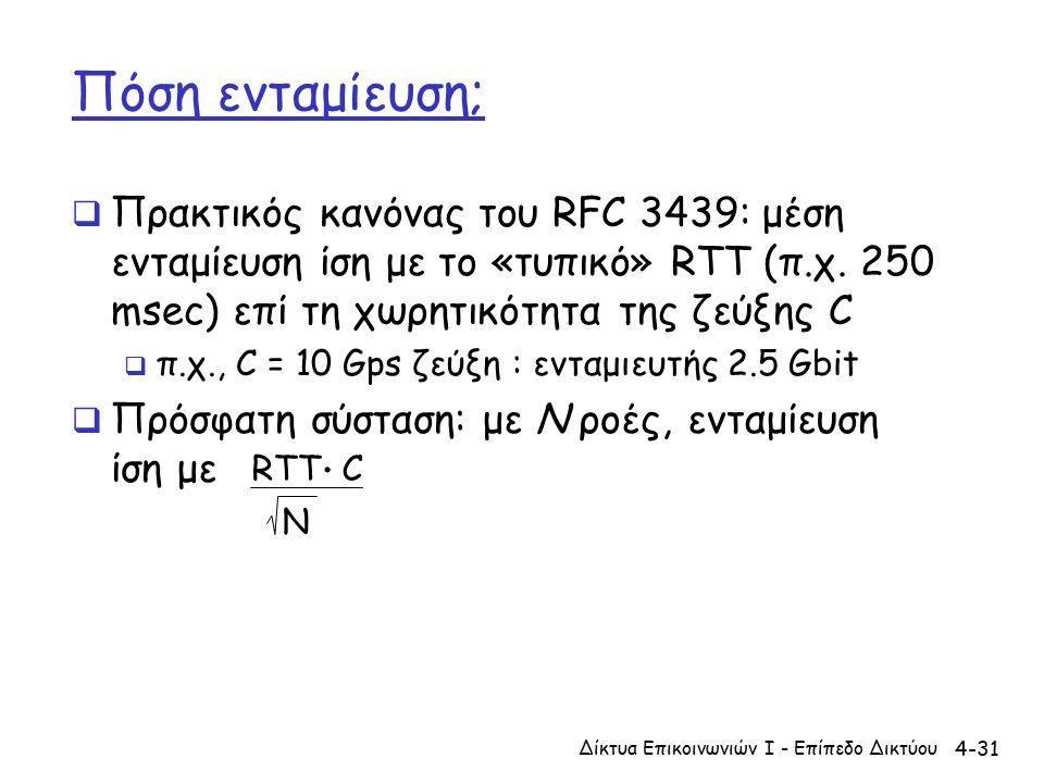 4-31 Πόση ενταμίευση;  Πρακτικός κανόνας του RFC 3439: μέση ενταμίευση ίση με το «τυπικό» RTT (π.χ.