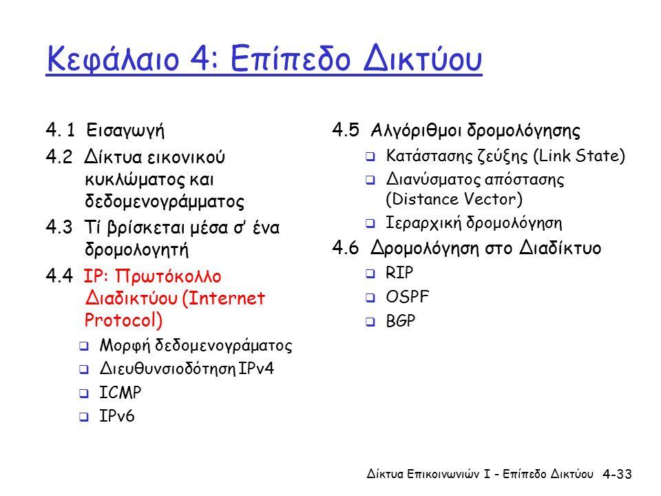 4-33 Κεφάλαιο 4: Επίπεδο Δικτύου 4.