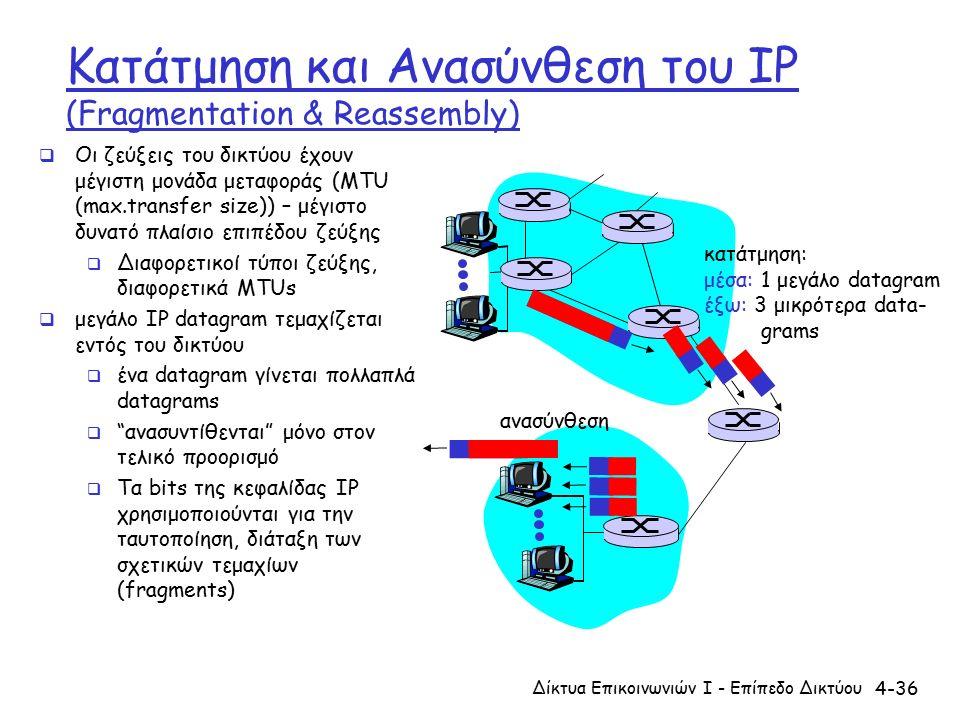 4-36 Κατάτμηση και Ανασύνθεση του IP (Fragmentation & Reassembly)  Οι ζεύξεις του δικτύου έχουν μέγιστη μονάδα μεταφοράς (MTU (max.transfer size)) – μέγιστο δυνατό πλαίσιο επιπέδου ζεύξης  Διαφορετικοί τύποι ζεύξης, διαφορετικά MTUs  μεγάλο IP datagram τεμαχίζεται εντός του δικτύου  ένα datagram γίνεται πολλαπλά datagrams  ανασυντίθενται μόνο στον τελικό προορισμό  Τα bits της κεφαλίδας IP χρησιμοποιούνται για την ταυτοποίηση, διάταξη των σχετικών τεμαχίων (fragments) κατάτμηση: μέσα: 1 μεγάλο datagram έξω: 3 μικρότερα data- grams ανασύνθεση Δίκτυα Επικοινωνιών Ι - Επίπεδο Δικτύου