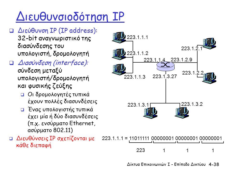 4-38 Διευθυνσιοδότηση IP  Διεύθυνση IP (IP address): 32-bit αναγνωριστικό της διασύνδεσης του υπολογιστή, δρομολογητή  Διασύνδεση (interface): σύνδεση μεταξύ υπολογιστή/δρομολογητή και φυσικής ζεύξης  Οι δρομολογητές τυπικά έχουν πολλές διασυνδέσεις  Ένας υπολογιστής τυπικά έχει μία ή δύο διασυνδέσεις (π.χ.