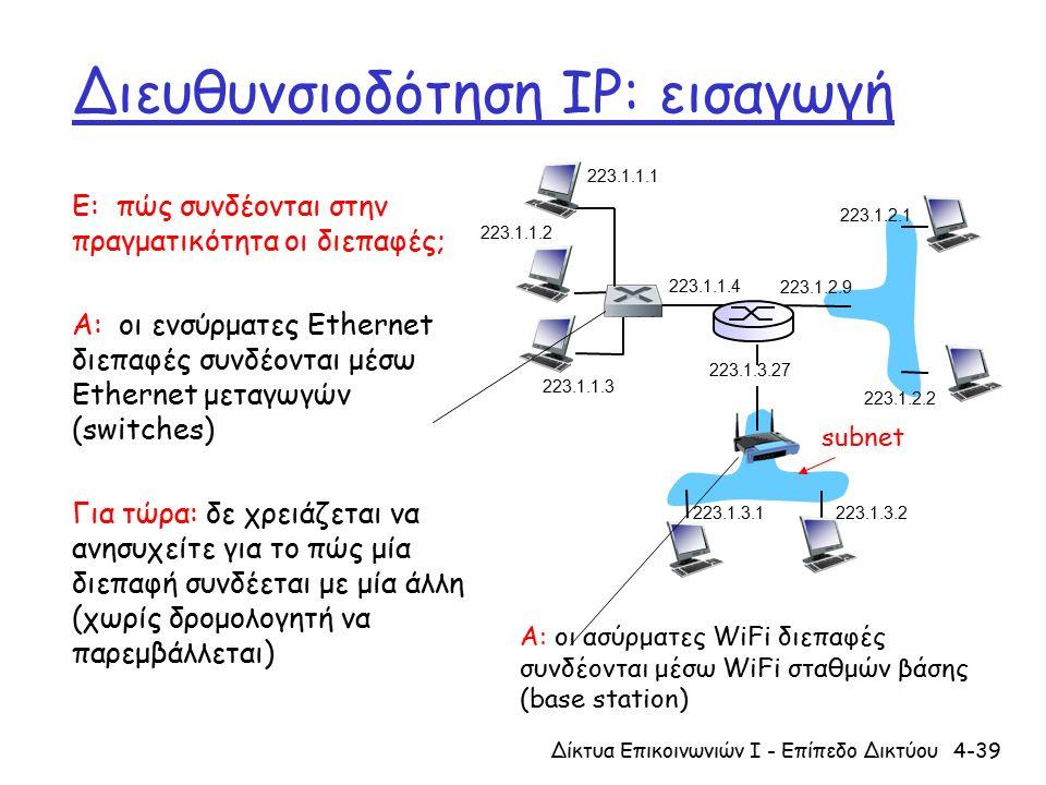 Διευθυνσιοδότηση IP: εισαγωγή Ε: πώς συνδέονται στην πραγματικότητα οι διεπαφές; Α: οι ενσύρματες Ethernet διεπαφές συνδέονται μέσω Ethernet μεταγωγών (switches) Για τώρα: δε χρειάζεται να ανησυχείτε για το πώς μία διεπαφή συνδέεται με μία άλλη (χωρίς δρομολογητή να παρεμβάλλεται) 4-39Δίκτυα Επικοινωνιών Ι - Επίπεδο Δικτύου 223.1.1.2 223.1.1.3 223.1.1.4 223.1.2.9 223.1.2.2 223.1.2.1 223.1.3.2 223.1.3.1 223.1.3.27 223.1.1.1 Α: οι ασύρματες WiFi διεπαφές συνδέονται μέσω WiFi σταθμών βάσης (base station) subnet
