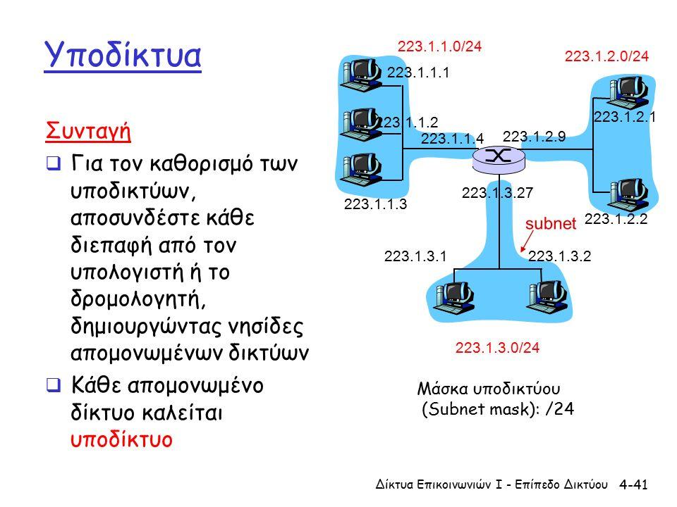 4-41 Υποδίκτυα 223.1.1.0/24 223.1.2.0/24 223.1.3.0/24 Συνταγή  Για τον καθορισμό των υποδικτύων, αποσυνδέστε κάθε διεπαφή από τον υπολογιστή ή το δρομολογητή, δημιουργώντας νησίδες απομονωμένων δικτύων  Κάθε απομονωμένο δίκτυο καλείται υποδίκτυο Μάσκα υποδικτύου (Subnet mask): /24 Δίκτυα Επικοινωνιών Ι - Επίπεδο Δικτύου 223.1.1.1 223.1.1.2 223.1.1.3 223.1.1.4 223.1.2.9 223.1.2.1 223.1.2.2 223.1.3.27 223.1.3.1223.1.3.2