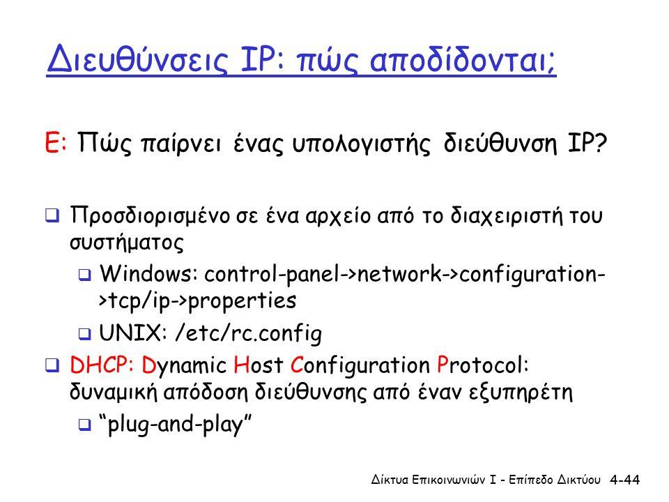 4-44 Διευθύνσεις IP: πώς αποδίδονται; Ε: Πώς παίρνει ένας υπολογιστής διεύθυνση IP.