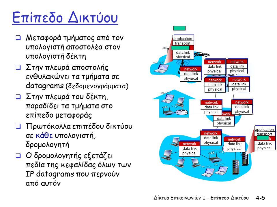 4-6 Δύο λειτουργίες κλειδιά του επιπέδου δικτύου  Προώθηση (forwarding): μετακίνηση πακέτων από την είσοδο του δρομολογητή στην κατάλληλη έξοδο του δρομολογητή  Δρομολόγηση (routing): καθορισμός διαδρομής που ακολουθούν τα πακέτα από την προέλευση στον προορισμό  Αλγόριθμοι δρομολόγησης αναλογία:  δρομολόγηση: διαδικασία σχεδιασμού ταξιδιού από την προέλευση στον προορισμό  προώθηση: διαδικασία περάσματος από μία διασταύρωση Δίκτυα Επικοινωνιών Ι - Επίπεδο Δικτύου