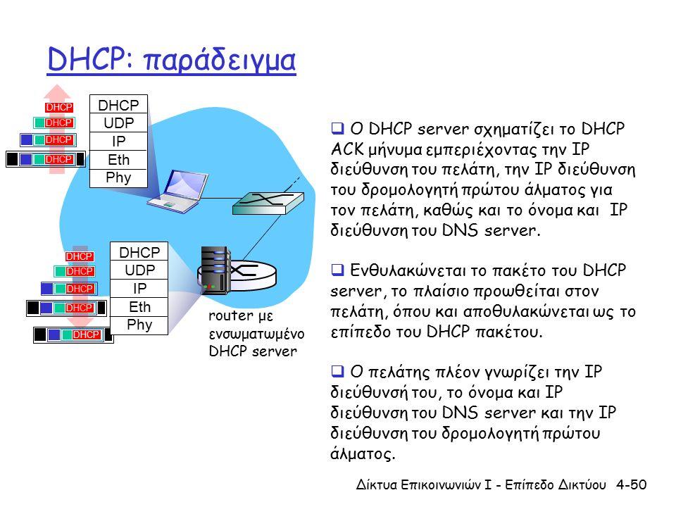 DHCP: παράδειγμα 4-50Δίκτυα Επικοινωνιών Ι - Επίπεδο Δικτύου DHCP UDP IP Eth Phy DHCP UDP IP Eth Phy DHCP router με ενσωματωμένο DHCP server  Ο DHCP server σχηματίζει το DHCP ACK μήνυμα εμπεριέχοντας την IP διεύθυνση του πελάτη, την IP διεύθυνση του δρομολογητή πρώτου άλματος για τον πελάτη, καθώς και το όνομα και IP διεύθυνση του DNS server.
