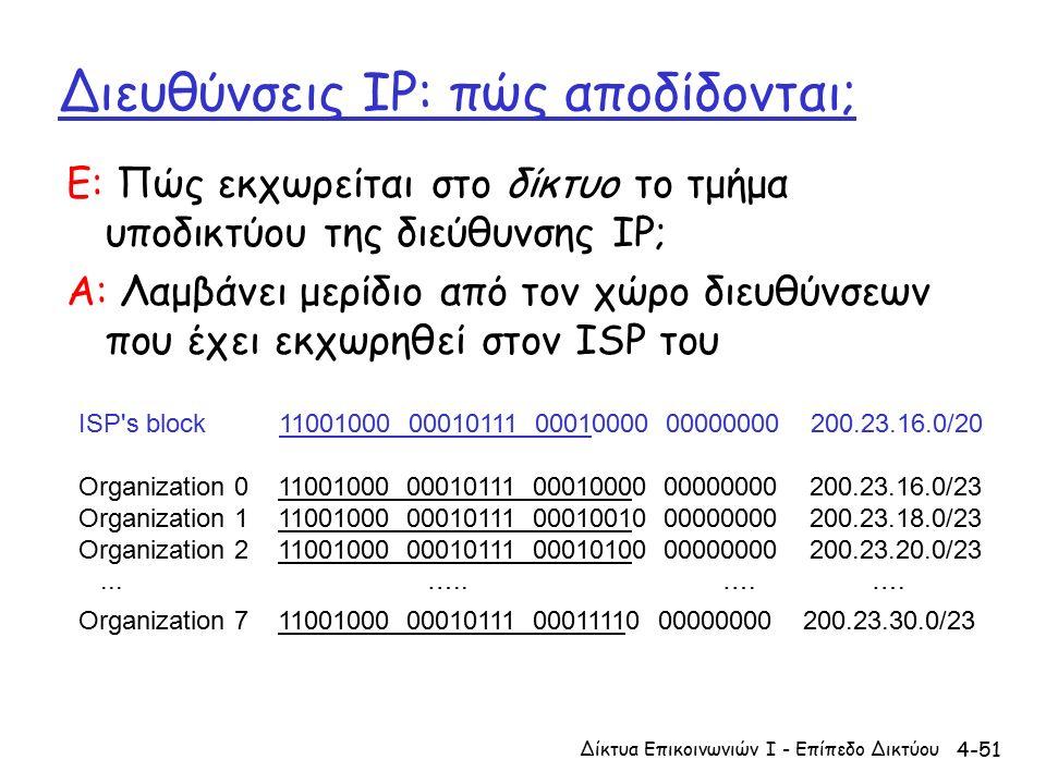 4-51 Διευθύνσεις IP: πώς αποδίδονται; Ε: Πώς εκχωρείται στο δίκτυο το τμήμα υποδικτύου της διεύθυνσης IP; A: Λαμβάνει μερίδιο από τον χώρο διευθύνσεων που έχει εκχωρηθεί στον ISP του ISP s block 11001000 00010111 00010000 00000000 200.23.16.0/20 Organization 0 11001000 00010111 00010000 00000000 200.23.16.0/23 Organization 1 11001000 00010111 00010010 00000000 200.23.18.0/23 Organization 2 11001000 00010111 00010100 00000000 200.23.20.0/23...