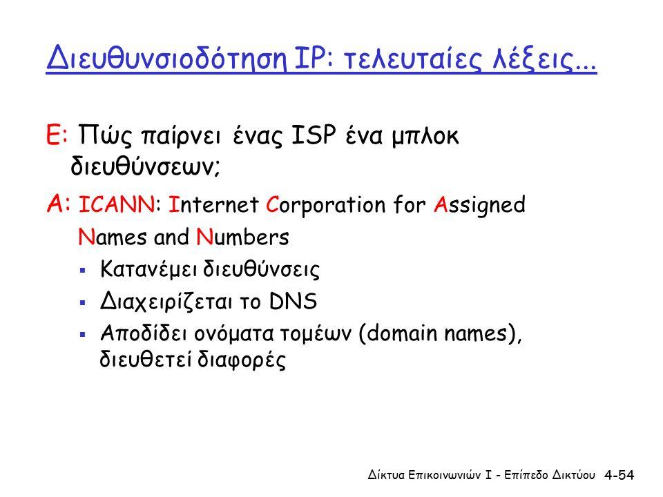 4-54 Διευθυνσιοδότηση IP: τελευταίες λέξεις...