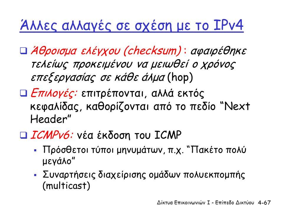 4-67 Άλλες αλλαγές σε σχέση με το IPv4  Άθροισμα ελέγχου (checksum) : αφαιρέθηκε τελείως προκειμένου να μειωθεί ο χρόνος επεξεργασίας σε κάθε άλμα (hop)  Επιλογές: επιτρέπονται, αλλά εκτός κεφαλίδας, καθορίζονται από το πεδίο Next Header  ICMPv6: νέα έκδοση του ICMP  Πρόσθετοι τύποι μηνυμάτων, π.χ.