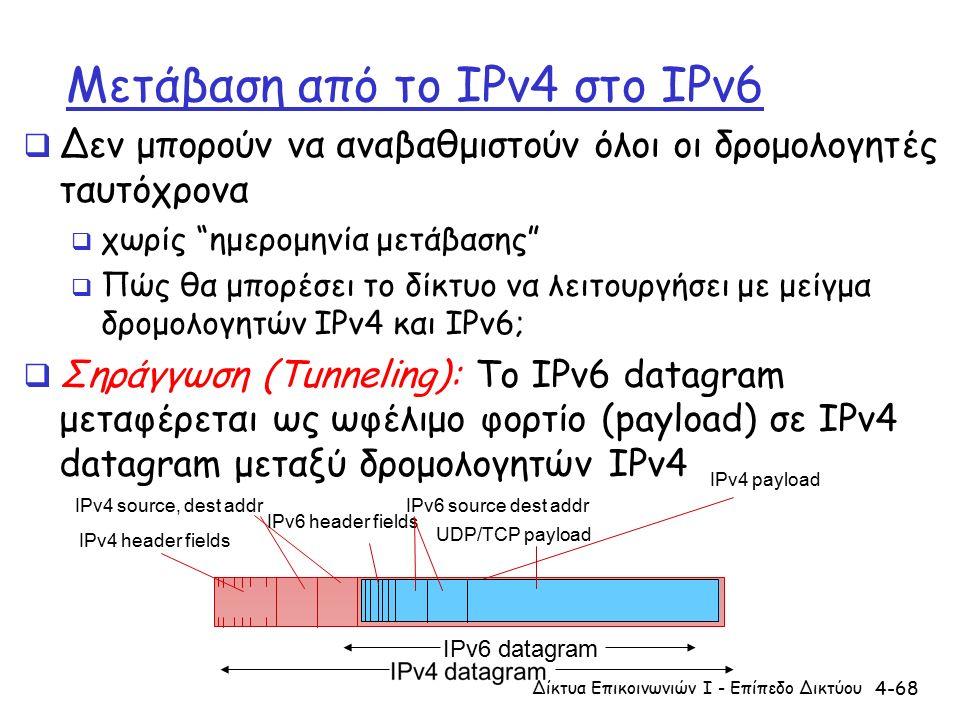 4-68 Μετάβαση από το IPv4 στο IPv6  Δεν μπορούν να αναβαθμιστούν όλοι οι δρομολογητές ταυτόχρονα  χωρίς ημερομηνία μετάβασης  Πώς θα μπορέσει το δίκτυο να λειτουργήσει με μείγμα δρομολογητών IPv4 και IPv6;  Σηράγγωση (Tunneling): Το IPv6 datagram μεταφέρεται ως ωφέλιμο φορτίο (payload) σε IPv4 datagram μεταξύ δρομολογητών IPv4 Δίκτυα Επικοινωνιών Ι - Επίπεδο Δικτύου IPv4 source, dest addr IPv4 header fields IPv6 datagram IPv4 payload UDP/TCP payload IPv6 source dest addr IPv6 header fields