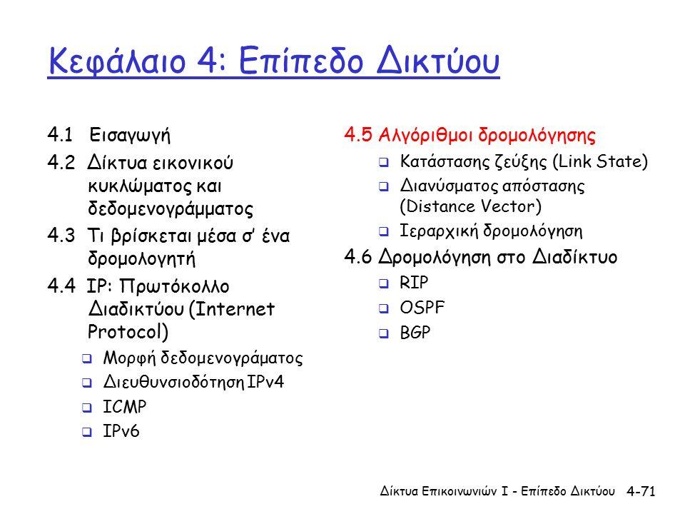 4-71 Κεφάλαιο 4: Επίπεδο Δικτύου 4.1 Εισαγωγή 4.2 Δίκτυα εικονικού κυκλώματος και δεδομενογράμματος 4.3 Τι βρίσκεται μέσα σ' ένα δρομολογητή 4.4 IP: Πρωτόκολλο Διαδικτύου (Internet Protocol)  Μορφή δεδομενογράματος  Διευθυνσιοδότηση IPv4  ICMP  IPv6 4.5 Αλγόριθμοι δρομολόγησης  Κατάστασης ζεύξης (Link State)  Διανύσματος απόστασης (Distance Vector)  Ιεραρχική δρομολόγηση 4.6 Δρομολόγηση στο Διαδίκτυο  RIP  OSPF  BGP Δίκτυα Επικοινωνιών Ι - Επίπεδο Δικτύου